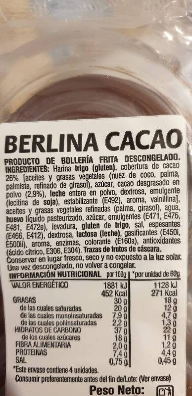 Berlinas cacao - Ingredientes