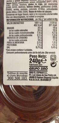 Berlinas cacao - Información nutricional - es