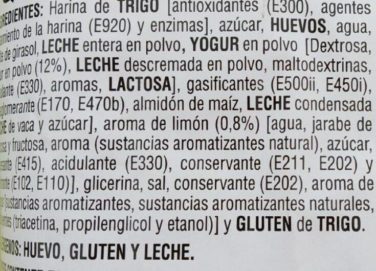 Queque yogur limón - Ingredientes - es