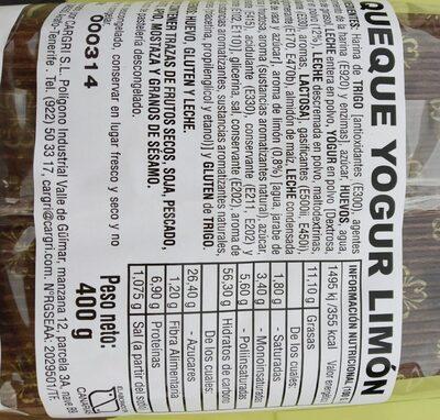 Queque yogur limón - Información nutricional - es