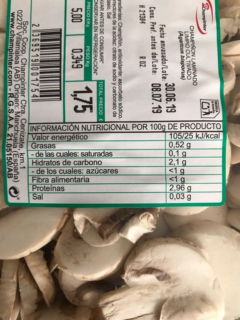 Champiñón laminado - Información nutricional