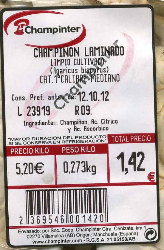 Champiñones laminados - Ingredients - es