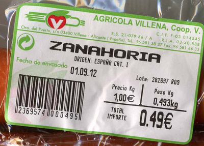 "Zanahorias ""V Agrícola Villena"" - Ingredients"