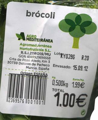 "Brócoli ""Agro Mediterránea"" - Ingredients - es"