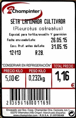 Setas de ostra laminadas - Ingredients - es