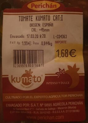 Tomate kumato - Nutrition facts - es