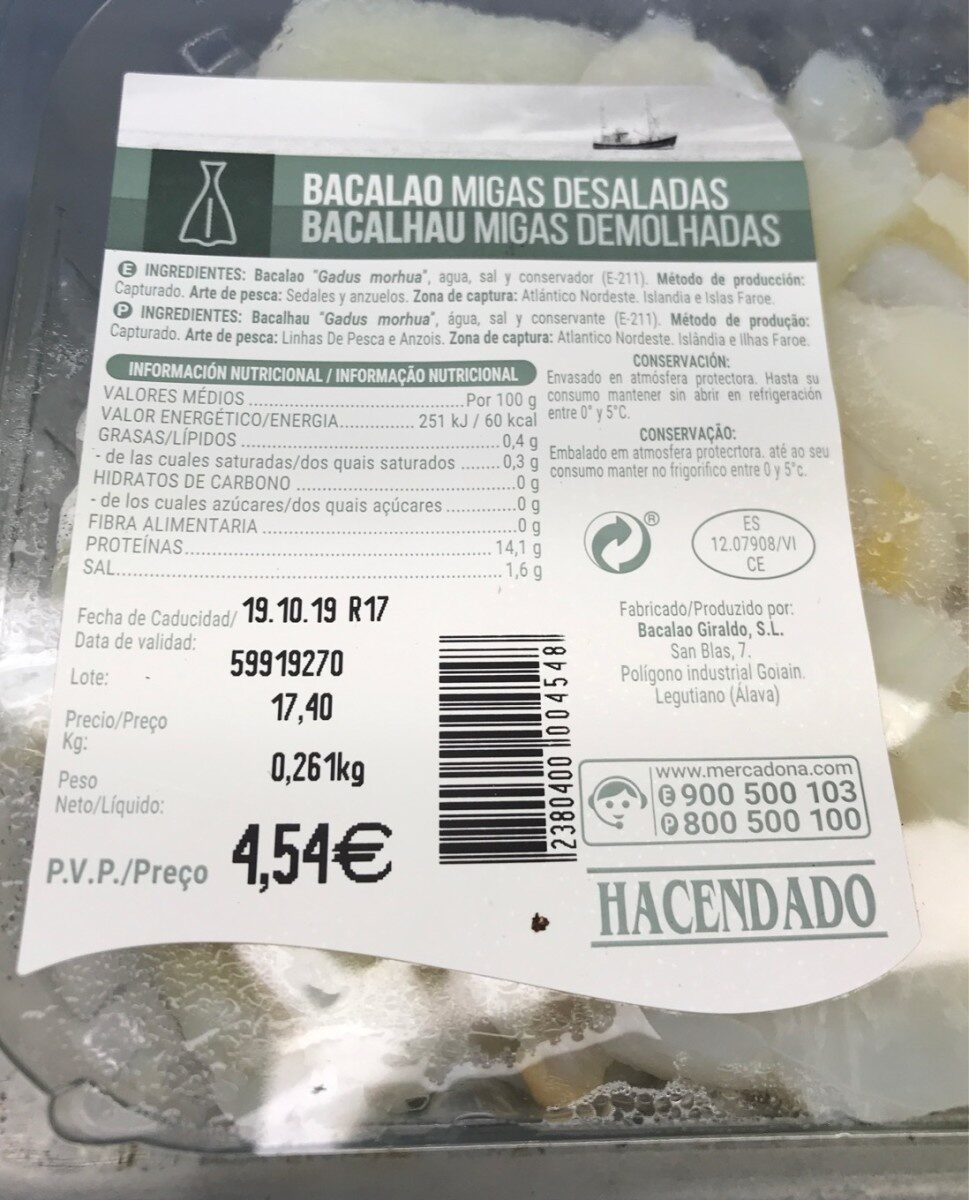 Bacalao migas desaladas - Produit - es