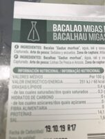 Bacalao migas desaladas - Informations nutritionnelles - es