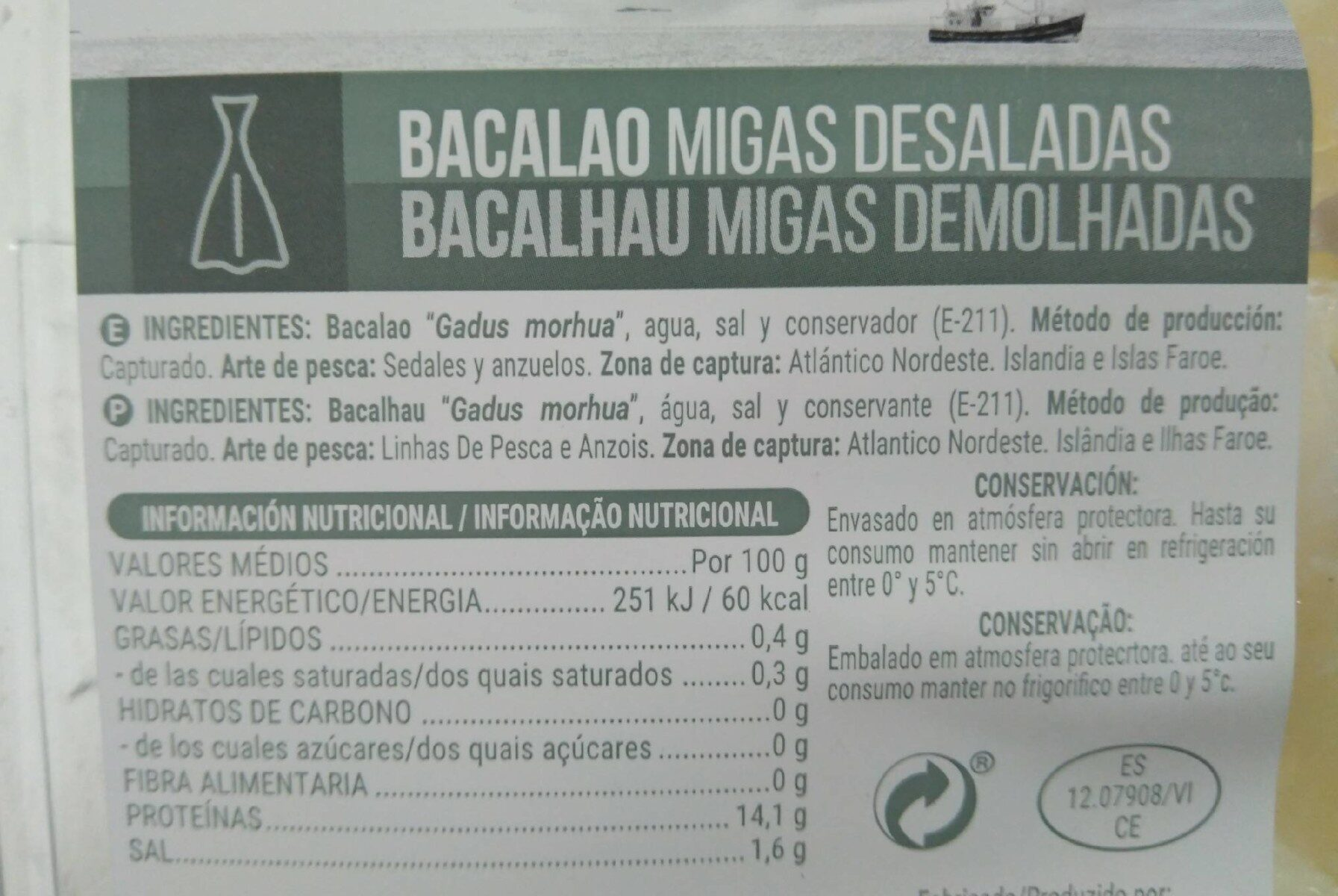 Bacalao Migas Desaladas - Nutrition facts
