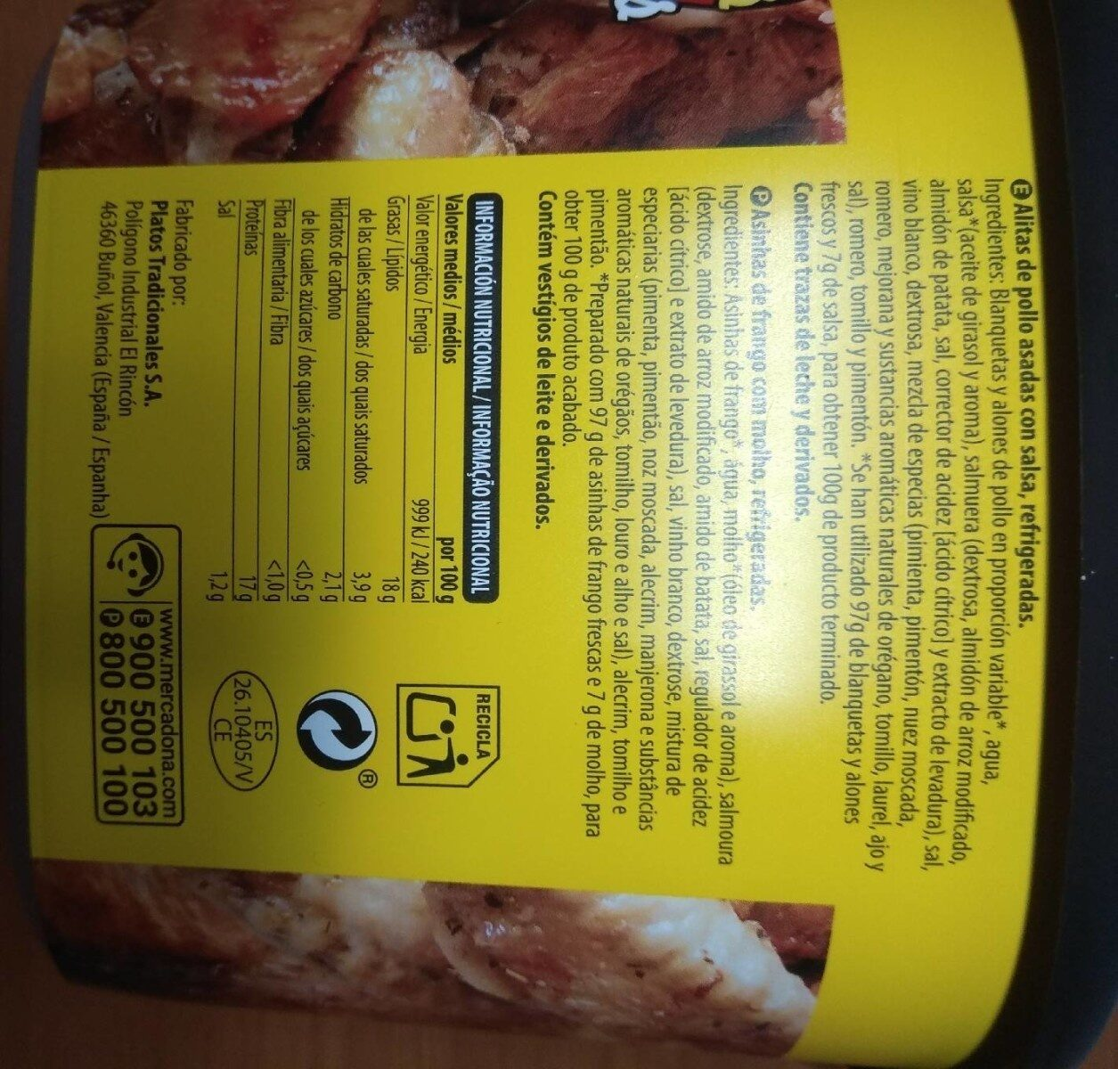 Alitas Pollo - Nutrition facts