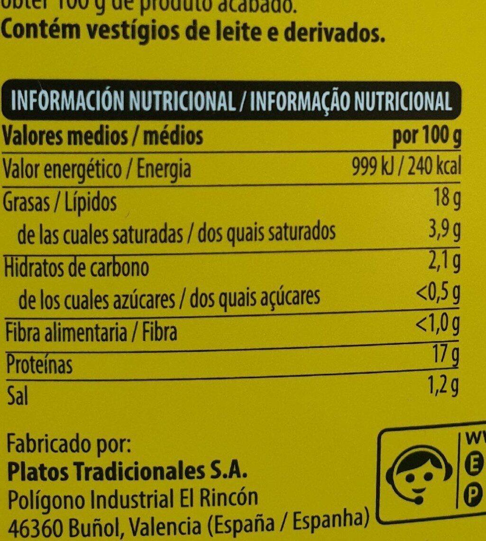 Alitas asadas - Nutrition facts - es