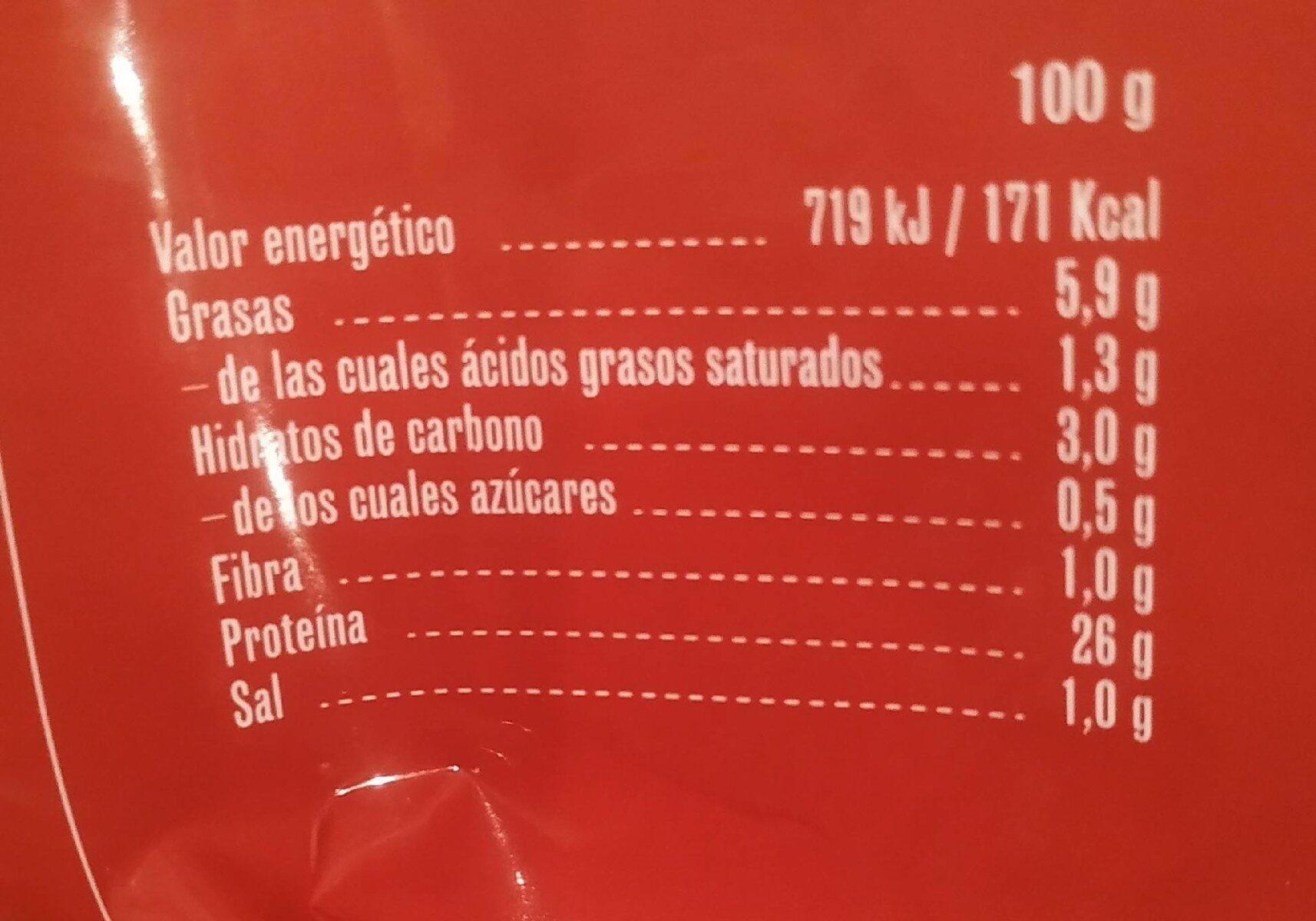 Pollo asado troceado - Nutrition facts