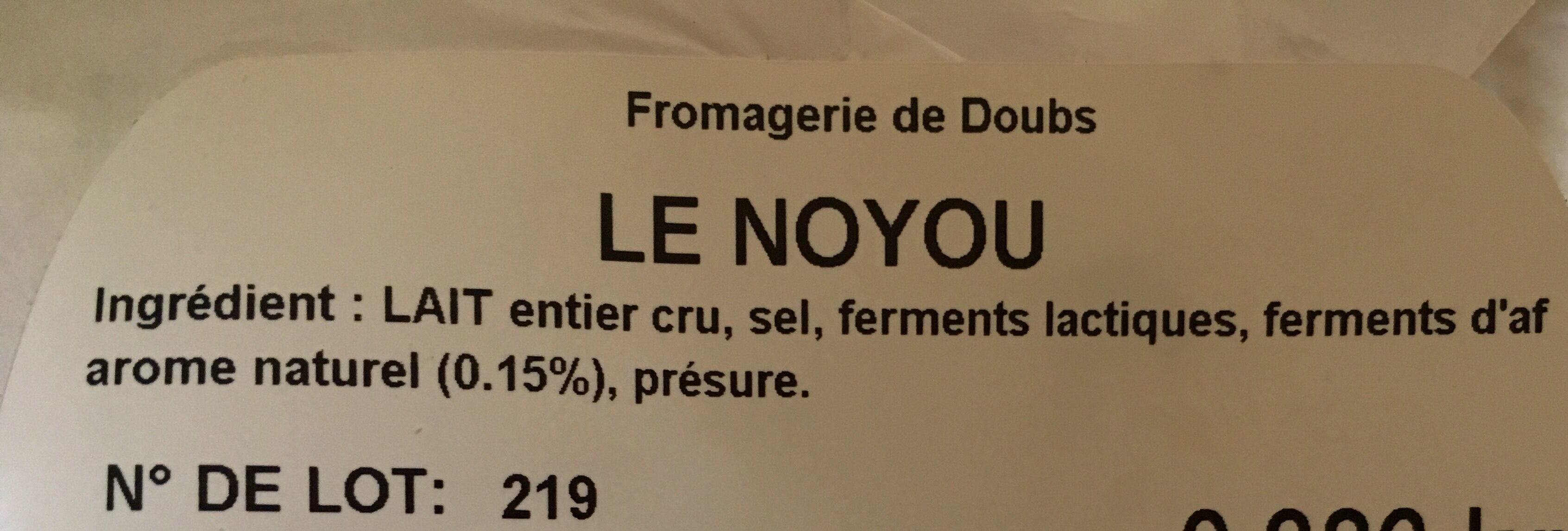 Le Noyou - Ingredients - fr