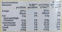 Bio Soja Drink Vanille - Nutrition facts - de
