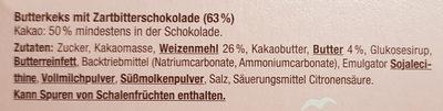 Butterkeks mit Zartbitterschokolade - Inhaltsstoffe