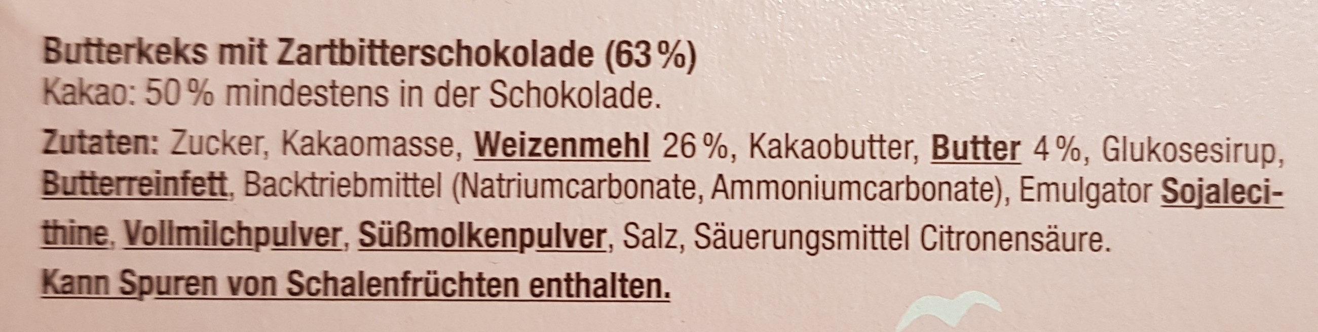 Butterkeks mit Zartbitterschokolade - Inhaltsstoffe - de
