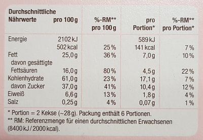 Butterkeks mit Zartbitterschokolade - Nährwertangaben