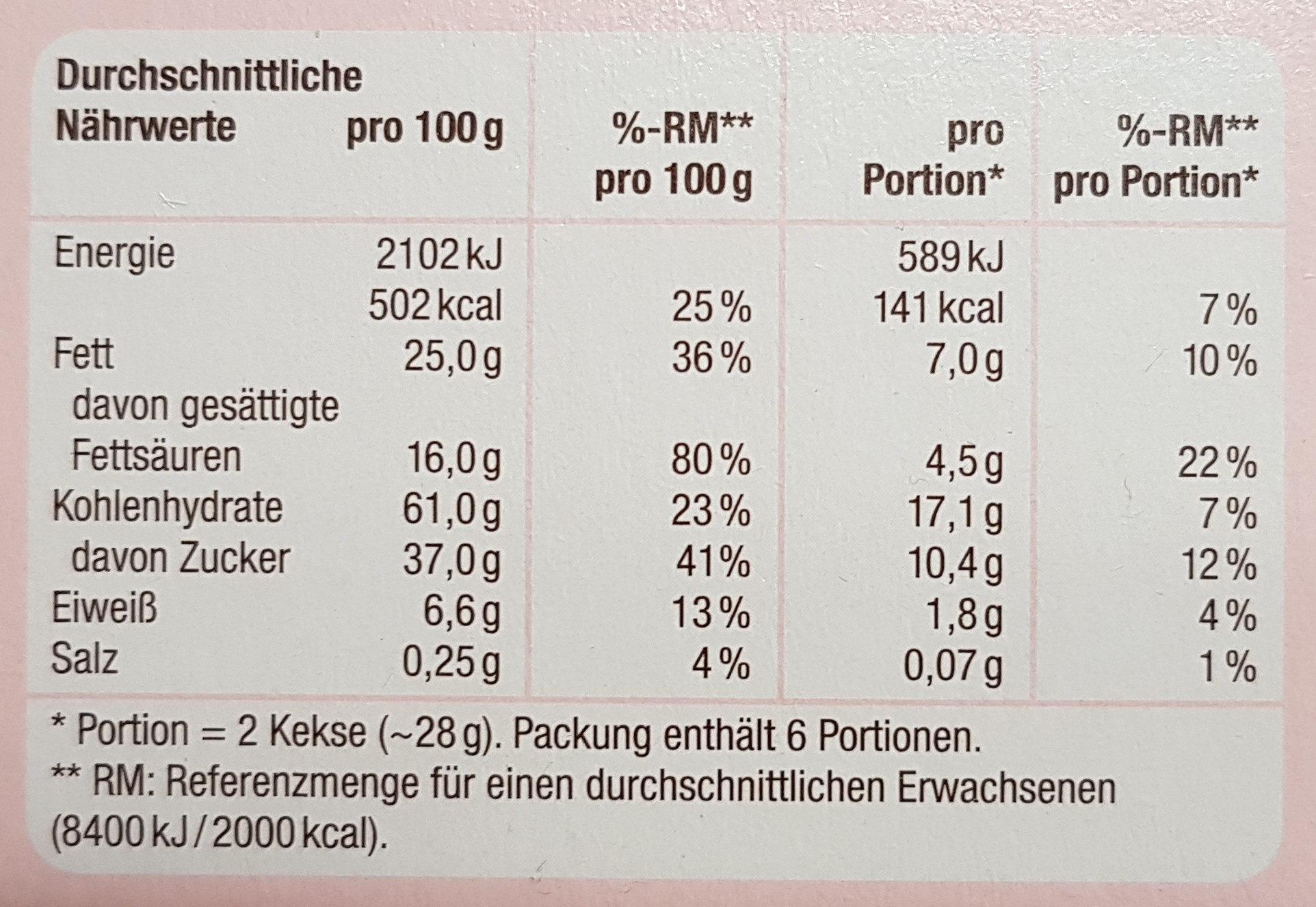 Butterkeks mit Zartbitterschokolade - Nährwertangaben - de