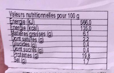 Jambon cuit supérieur sans couenne - Informations nutritionnelles - fr