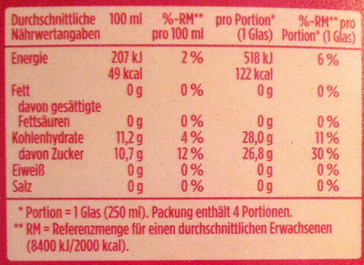 Apfelsaft naturtrüb - Nährwertangaben - de