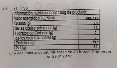 Filete de lomo adobado familiar - Informació nutricional - es