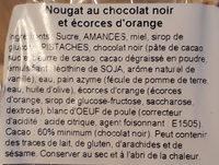 Nougat chocolat orange - Ingredients - fr