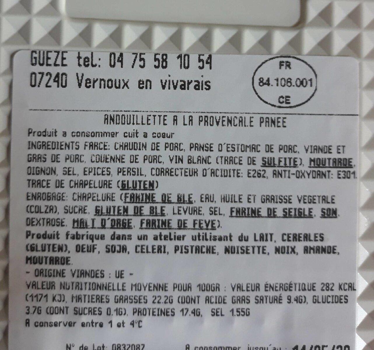 Andouillette a la provençale panée - Voedingswaarden - fr