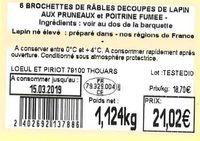 6 Brochettes de râbles découpés de lapin aux pruneaux et poitrine fumée - Ingredients