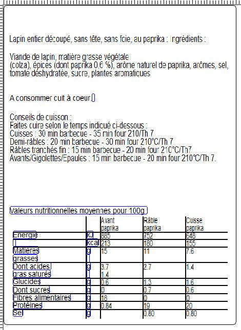 Lapin entier découpé sans tête sans foie au paprika - Informations nutritionnelles - fr