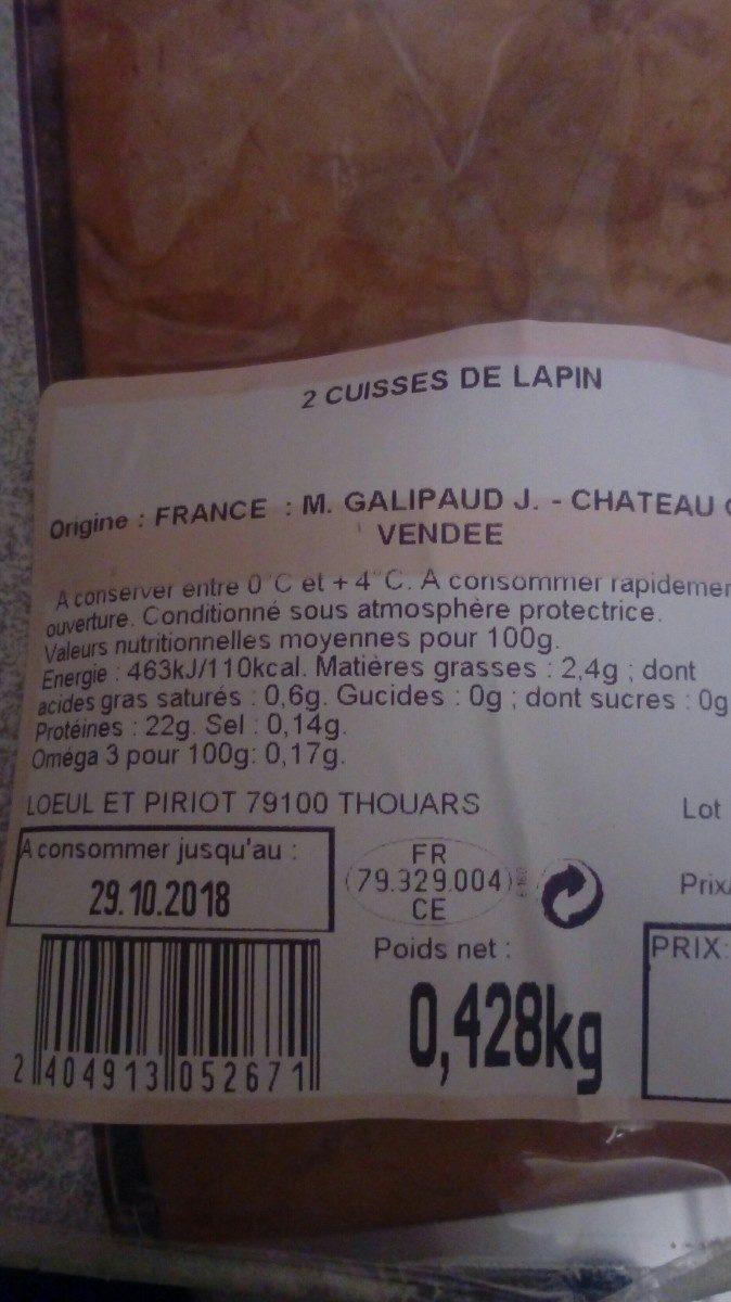 Lapin - Ingrediënten - fr