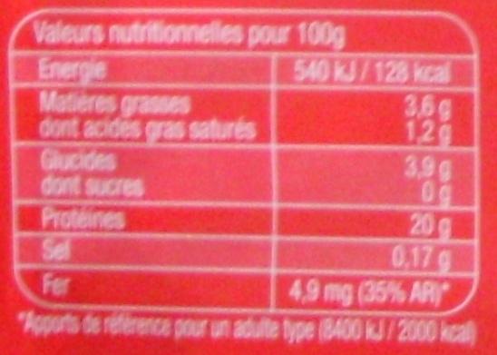 Foie de bœuf - Nutrition facts - fr