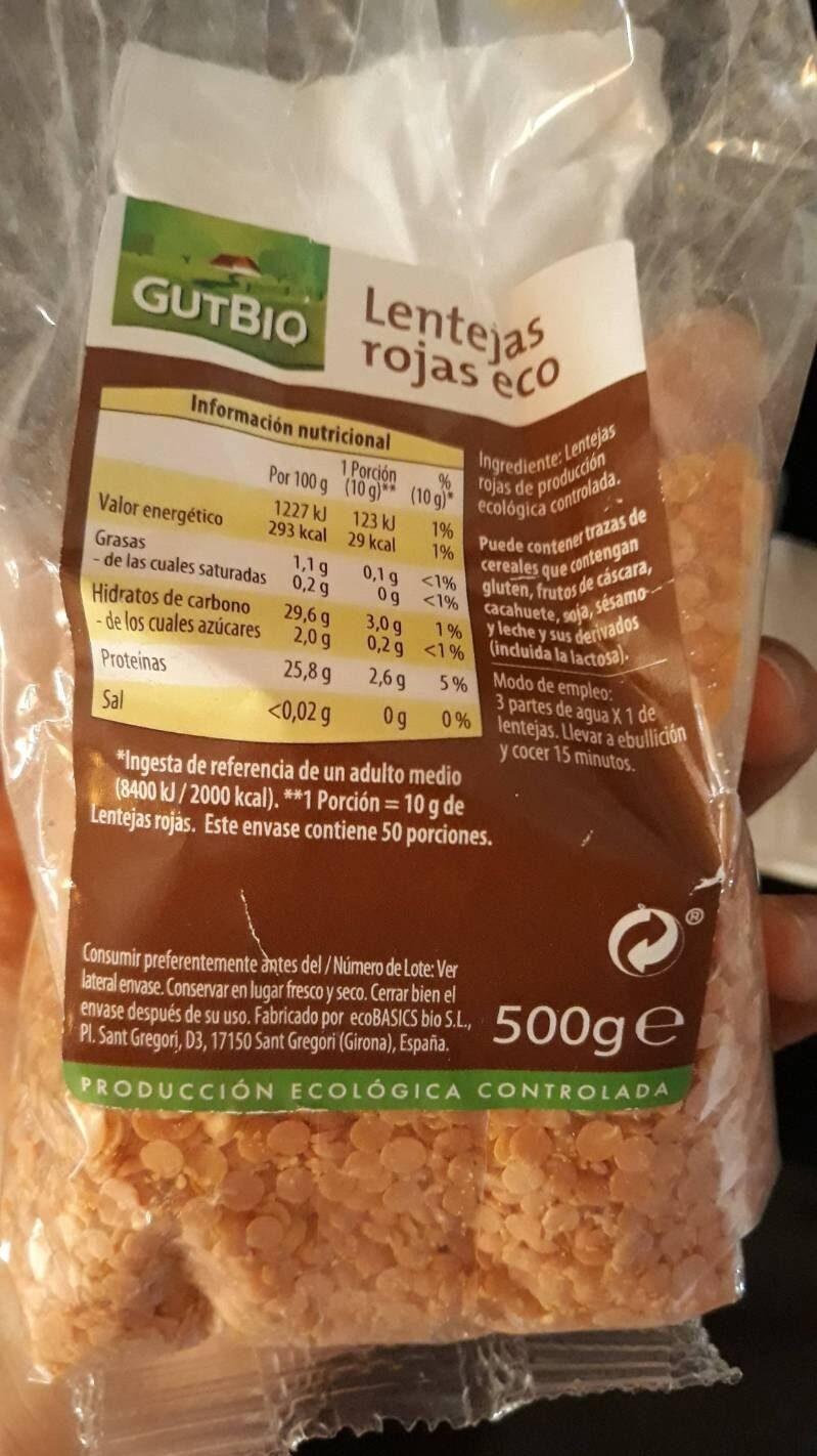 Judías azuki eco - Informations nutritionnelles - es