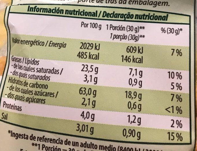 Barritas vegetales ecológicas - Información nutricional