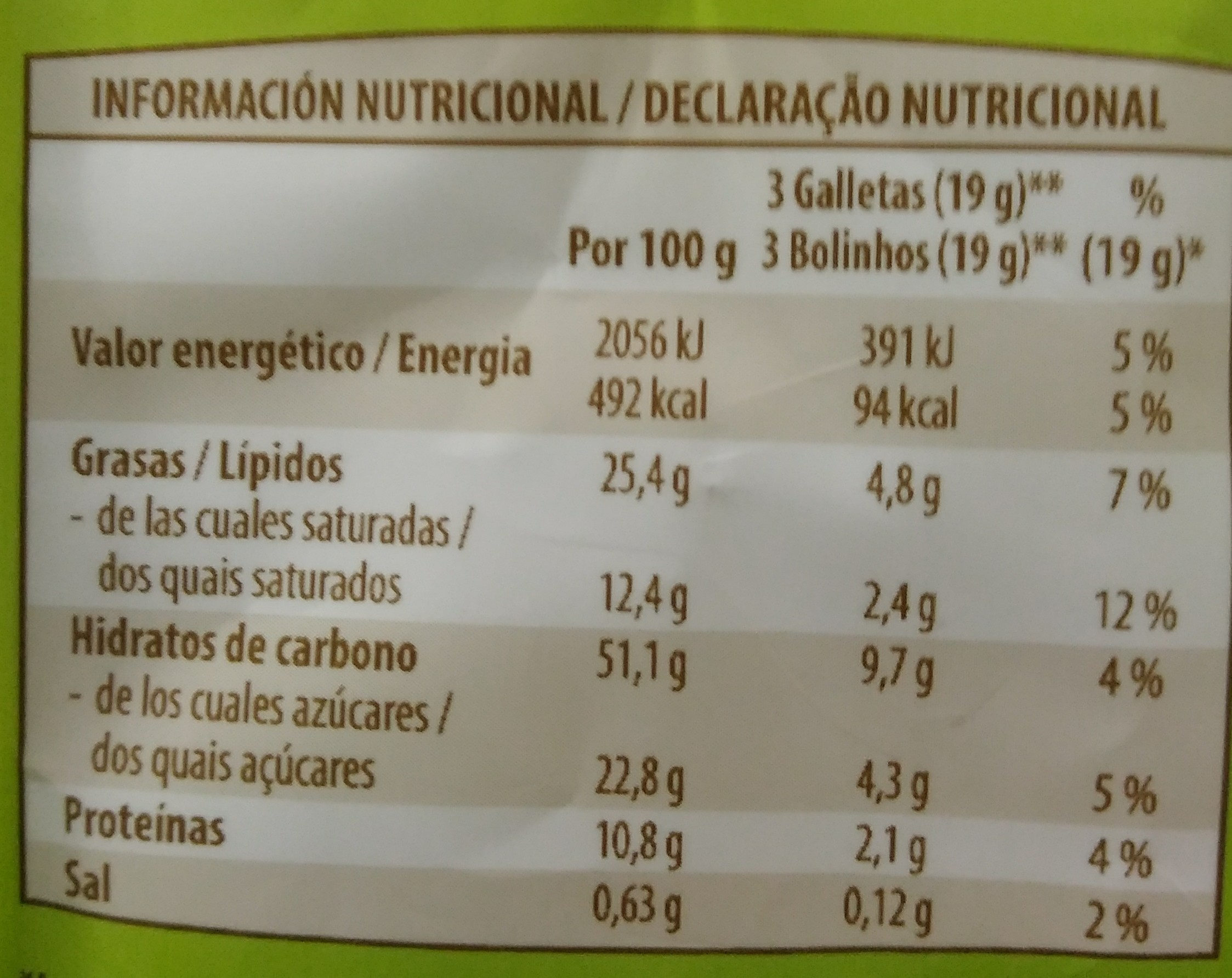 Galleta de avena y chocolate negro - Informations nutritionnelles - es