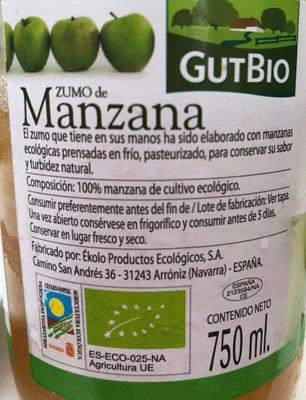 Zumo de Manzana - Ingrédients