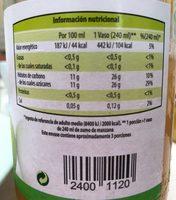 Zumo de Manzana - Informations nutritionnelles