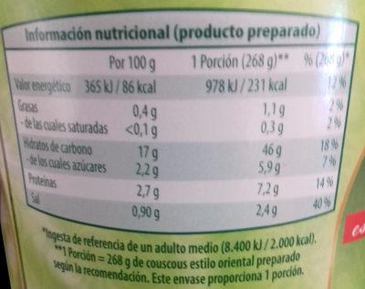 Couscous estilo oriental - Informació nutricional