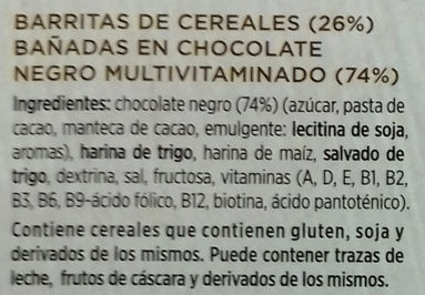 Barritas de cereales chocolate negro - Ingredientes