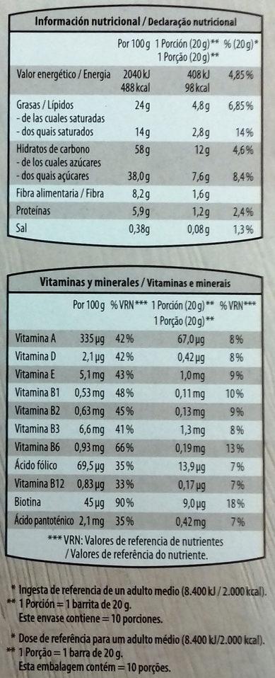 Barritas de cereales chocolate negro - Información nutricional