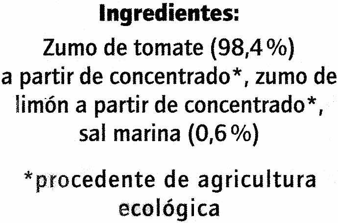 Zumo de tomate - Ingredients - es
