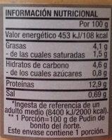 Pudin de Bonito del Norte - Nutrition facts - es