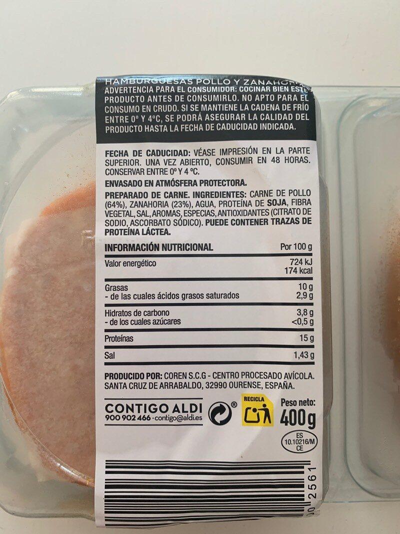 Hamburguesas pollo y zanahoria - Informations nutritionnelles - es