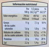 Tofu Ahumado - Valori nutrizionali - es