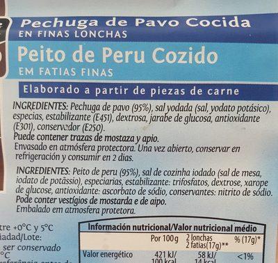 Pechuga de pavo cocida - Ingredientes