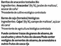 Barritas de anacardos - Ingredients
