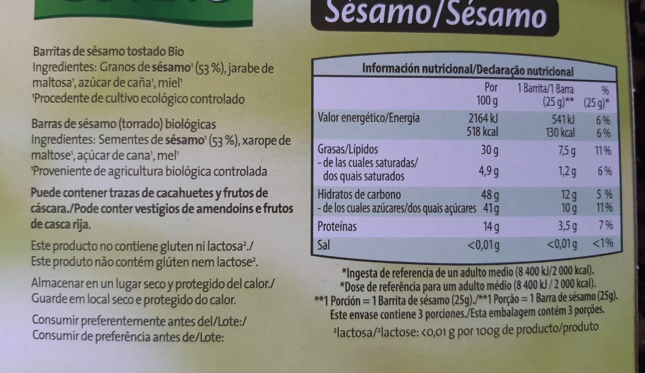 Barritas crujientes - Informations nutritionnelles - es