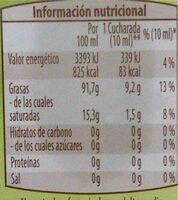 Aceite de sesamo prensado en frio - Informació nutricional - es
