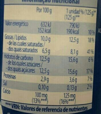 Yaourt griego azucarado - Informations nutritionnelles - fr