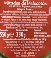Melocotón con canela - Información nutricional - es