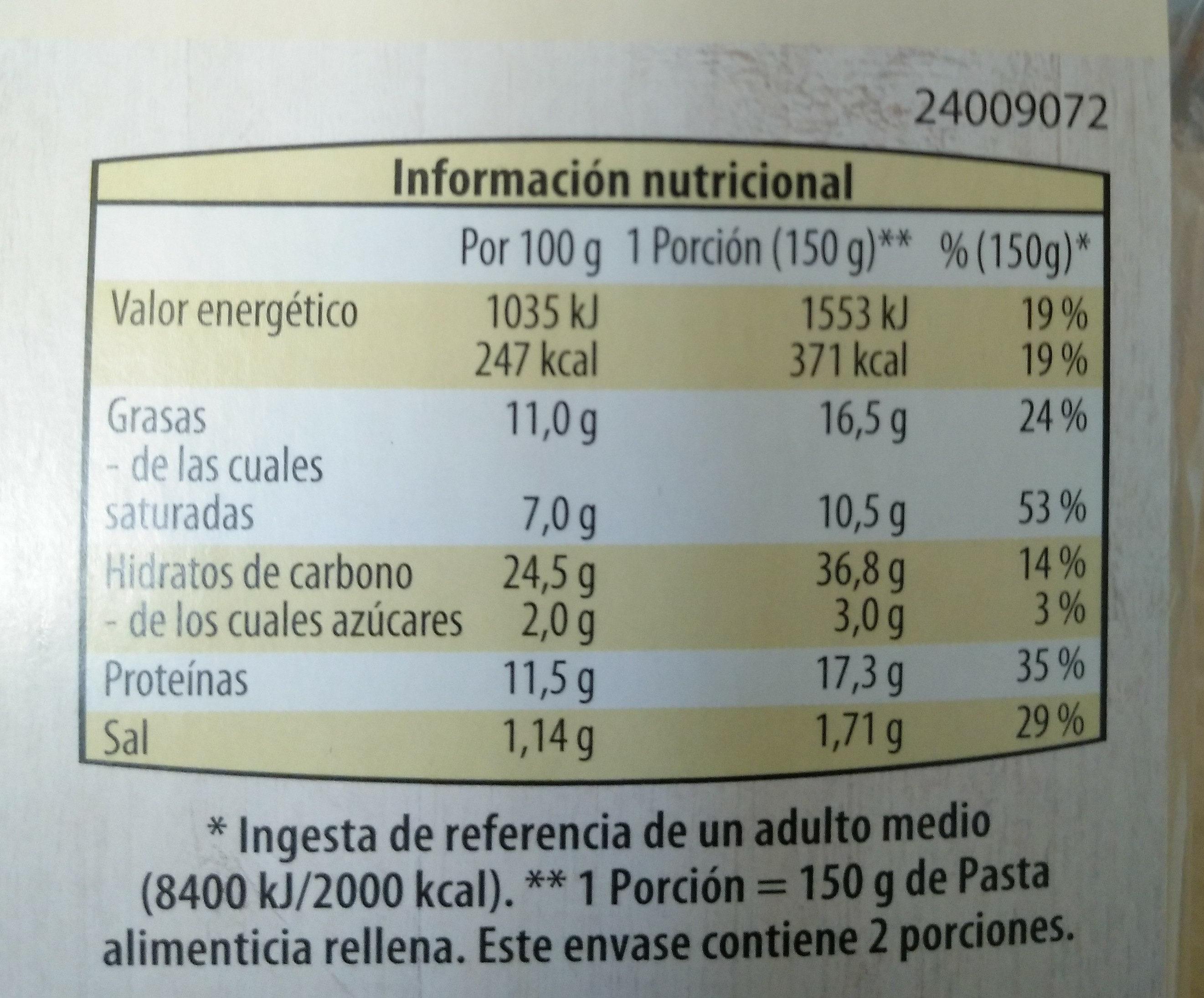 Tortelli con pimiento morron y guindilla. - Nutrition facts